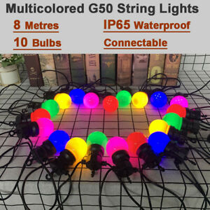 8M 10 LED G50 Festoon Globe String Light Mains Power Outdoor Patio Fairy Lights