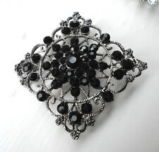Vintage Victorian Style Gothic Brooch Vampire Costume Jewellery Black Crystals