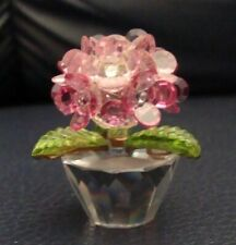 Crystal World Flowers in a Pot Figurine Preowned - Mint -