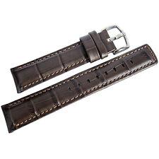 22mm Hirsch Grand Duke Brown Alligator-Grain Leather Mens Watch Band Strap