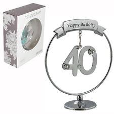 Crystocraft Felice 40th COMPLEANNO CAKE TOPPER/Regalo-Numero & Swarovski