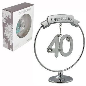 Crystocraft Happy 40th Birthday Cake Topper / Gift - Number & Swarovski