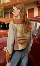 Free People Stars Are Blind Motorcycle Jacket Leather Patchwork Sun Multicolor