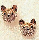 Akita Dog Crystal Covered Post Stud Earrings Jewelry
