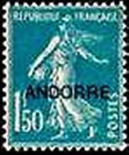 "ANDORRE FRANCAIS STAMP N° 13 "" SEMEUSE FOND PLEIN 1F50 BLEU "" NEUF xx TTB"