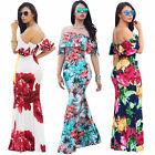 US Women Floral Long Maxi Dress Short Sleeve Evening Party Summer Beach Sundress