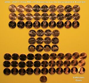 2000-2021 76 Coin PDS +S Uncirculated & Proof Lincoln Memorial & Shield Cent Set