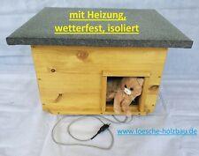 Katzenhaus mit Heizung Lasur Eiche hell wetterfest isoliert Katzenhütte beheizt