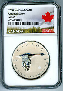 2020 $10 CANADA 2 OZ .9999 SILVER FLYING CANADIAN GOOSE NGC MS69 - EXTRA THICK