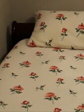Vintage fabric Flannelette Flannel Sheet + Pillowcase 100% Cotton SINGLE FLAT