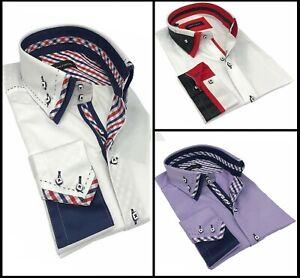 Luxury Mens Casual Double Collar Slim Fit Formal Shirt Italian Design S-4XL