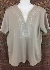 SPECULATION WOMEN'S SHORT SLEEVE TOP SHIRT BEIGE SIZE LARGE EMBROIDERED