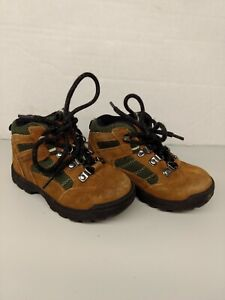 NORTHWEST TERRITORY Youth 8 Brown & Green Leather Hiking Lace Up Boots