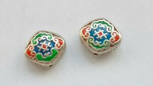 1 Pcs Solid Sterling Silver Diamond Beads, Cloisonne Diamond Beads Cross Drilled