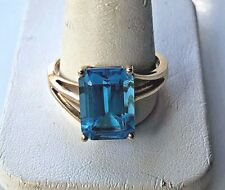 YELLOW GOLD 10 CT BLUE TOPAZ RING SIZE 12