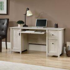 Sauder 418793 Edge Water Computer Desk With Enclosed Storage in Chalked Chestnut
