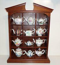 12 Porcelain Victoria & Albert Museum Tea Pots Teapots COA's Franklin Mint Shelf