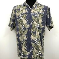 Royal Creations Hawaiian Shirt Men's Reverse Print Floral Size Large Aloha Blue