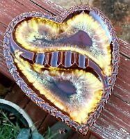 Retro Heart Shaped Ashtray Made In Japan Brown Swirl Vintage Mid Century