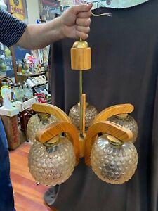VINTAGE HANGING  WOOD CEILING LIGHT DECOR FIXTURE CHANDELIER LAMP 5 Light