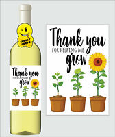 Wine Label Gift Present Teacher Thank You Card Mr Mrs Miss Teaching Assistant K6