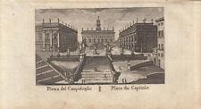 Piazza del Campidoglio Roma Italia ORIG RAME chiave vasi 1816