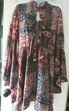 Romeo and Juliet Couture Paisley Neck Tie Bell Sleeves Dress Women BOHO Size M