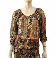 VINTAGE Red Gold Black Sheer Silk Blouse 3/4 Sleeve Top S