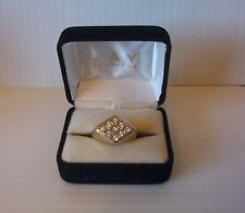 Gorgeous Signed 9 Diamonds Solid 14K Karat Gold Men's Size 9 Ring