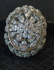 18k White Gold GF Large Ring made w Swarovski Crystal Marquise Stone Luxury Ring
