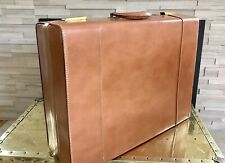 Vintage 1940s Brown Leather Luggage Suitcase Brass Fitting Boretz NYC - Gorgeous
