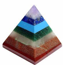 Natural Amethyst Crystal Quartz Healing CHAKRA PYRAMID - 7 Gemstone REIKI Rare