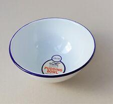 Falcon Enamel Camping Pudding Soup Bowl Traditional White Blue Rim 16cm