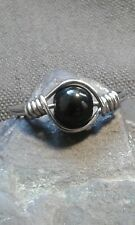 Handmade Natural Black Onyx/Agate Gemstone Silver Wire Ring ANY SIZE