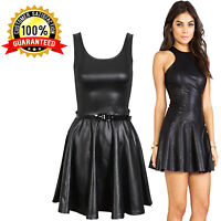 New Ladies PVC Wet Look Plus Belted Flared Celebrity Sexy Skater Dress TOP 8-26