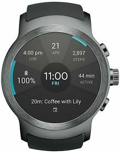 LG Watch Sport W280A Stainless Steel Black AT&T GSM Unlocked- Titan/Silver