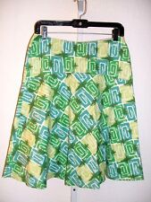BODEN Spring Multi-Green Geometric print Lined 100% Cotton Skirt Womens Size 10R