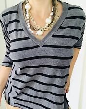 METALICUS WOMENS STRIPED BLOUSE TOP KNIT GREY BLACK 3/4 Slv One Size