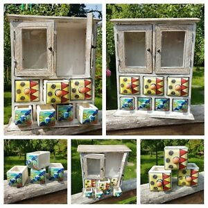 Retro Wooden & Colourful Ceramic Hand-painted 7 Drawer Glass Door Storage Unit