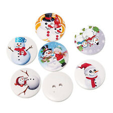 20 ASSORTED SNOWMAN PAINTED WOOD BUTTONS 20mm Sewing~embellishment~Crafts (76G)