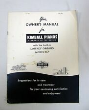 Vintage Kimball Pianos Lowery Organ Owner's Manual Model O-7