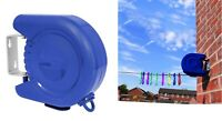 RETRACTABLE 15M CLOTHES WASHING LINE WALL MOUNTED OUTDOOR LAUNDRY PVC LINE AIRER