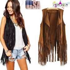 Fall Women Cool Faux Suede Ethnic Sleeveless Tassels Fringed Vest Cardigan US
