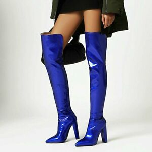 Fashion Women Boots Patent Leather Thigh Boots Over the Knee Pointed Toe Pumps