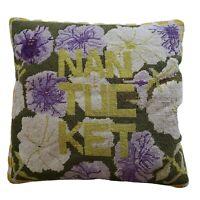 Vintage Nantucket Floral Needlepoint Pillow