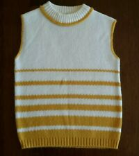 Vintage 1950s/1960s Knit Sweater Turtleneck Sleeveless Top Yellow Stripes Small