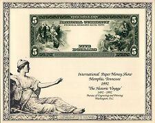 Bureau Engraving and Printing $5 Treasury Note Souvenir Card Print IPMS 1992
