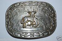 WOW Vintage Western Rodeo Bucking Bronco Engraveable Chrome Metal Belt Buckle