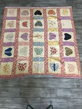 """Vintage Hand Stitched Patchwork Butterfly Quilt King Sized 80"""" x 76"""""""