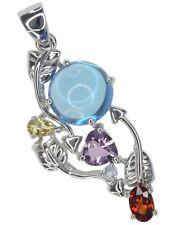 Clúster de piedras preciosas Topacio Azul Turmalina Amatista De Plata Esterlina Colgante + Cadena